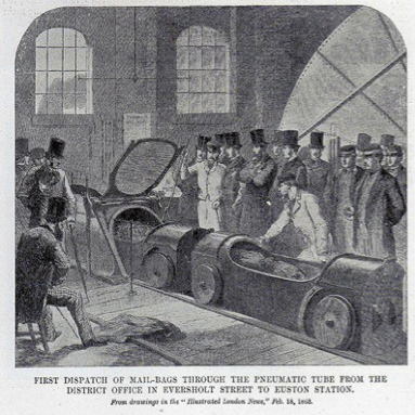 pneumatic car system for delivery of post in Victorian London