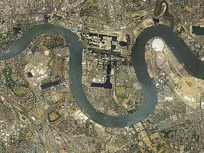 High level 'satellite' aerial view over London